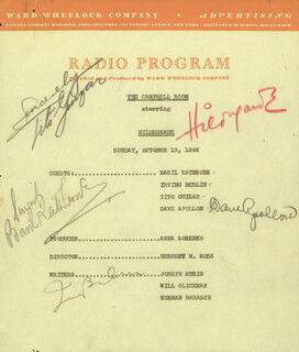Autographs: IRVING BERLIN - PROGRAM SIGNED CIRCA 1946 CO-SIGNED BY: HILDEGARDE, BASIL RATHBONE, TITO GUIZAR, DAVE APOLLON