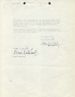 BASIL RATHBONE - DOCUMENT SIGNED 12/07/1943