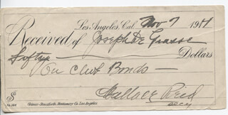 WALLACE REID - RECEIPT SIGNED 11/07/1914