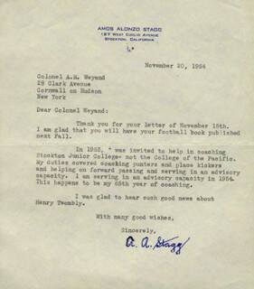 AMOS ALONZO STAGG - TYPED LETTER SIGNED 11/20/1954  - HFSID 252117