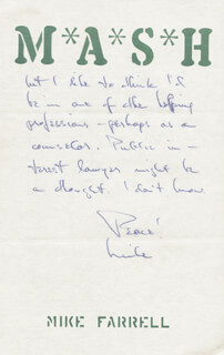 MIKE FARRELL - AUTOGRAPH LETTER SIGNED