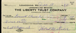LEFTY GROVE - AUTOGRAPHED SIGNED CHECK 12/18/1958