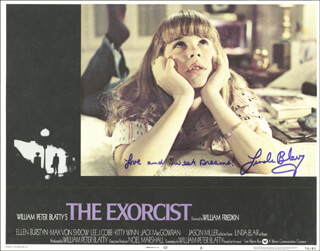 LINDA BLAIR - LOBBY CARD SIGNED
