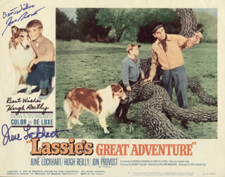LASSIE''S GREAT ADVENTURE MOVIE CAST - LOBBY CARD SIGNED CO-SIGNED BY: JON PROVOST, JUNE LOCKHART, HUGH REILLY
