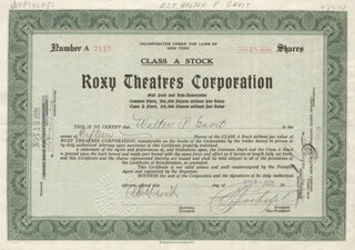 SAMUEL ROXY ROTHAFEL - STOCK CERTIFICATE SIGNED 11/09/1926