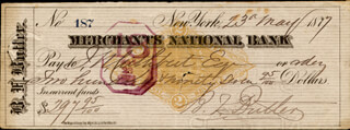 Autographs: MAJOR GENERAL BENJAMIN F. BUTLER - CHECK SIGNED 05/23/1877