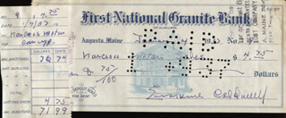ERSKINE CALDWELL - AUTOGRAPHED SIGNED CHECK 01/07/1937