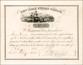 PETER COOPER - DOCUMENT SIGNED 12/1846