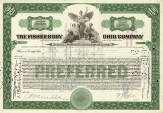 Autographs: FREDERIC J. FISHER - STOCK CERTIFICATE SIGNED 02/05/1923