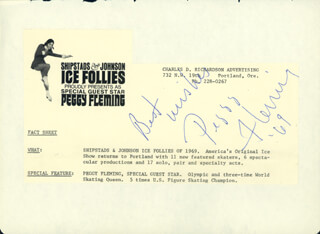 PEGGY FLEMING - AUTOGRAPH SENTIMENT SIGNED 1969