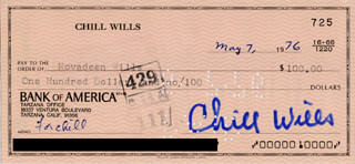 CHILL WILLS - AUTOGRAPHED SIGNED CHECK 05/07/1976 CO-SIGNED BY: NOVADEEN WILLS