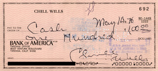 CHILL WILLS - AUTOGRAPHED SIGNED CHECK 05/14/1976