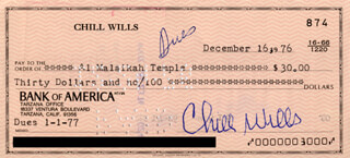 CHILL WILLS - AUTOGRAPHED SIGNED CHECK 12/16/1976