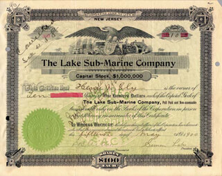 Autographs: SIMON LAKE - STOCK CERTIFICATE SIGNED 05/15/1900