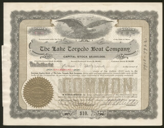 Autographs: LAKE TORPEDO BOAT COMPANY - STOCK CERTIFICATE SIGNED 08/15/1916 CO-SIGNED BY: HERBERT S. MILLER