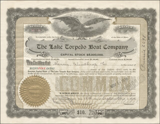 Autographs: LAKE TORPEDO BOAT COMPANY - STOCK CERTIFICATE SIGNED 09/12/1916 CO-SIGNED BY: HERBERT S. MILLER