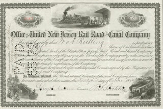 Autographs: WASHINGTON A. ROEBLING - STOCK CERTIFICATE ENDORSED CIRCA 1894