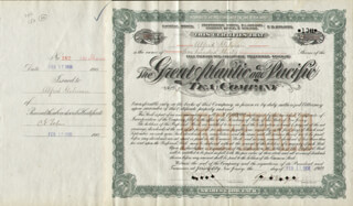 Autographs: GEORGE H. HARTFORD - STOCK CERTIFICATE SIGNED 02/17/1908