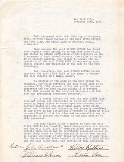 SIMON LAKE - CONTRACT SIGNED 11/30/1935