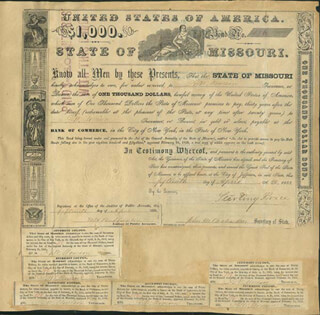 MAJOR GENERAL STERLING PRICE - BOND SIGNED 04/15/1853