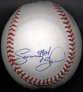 MARK McGWIRE - AUTOGRAPHED SIGNED BASEBALL CO-SIGNED BY: SAMMY SOSA
