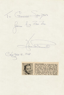 JOAN FONTAINE - AUTOGRAPH NOTE SIGNED 10/18/1968