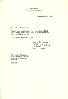 Autographs: PEARL S. BUCK - TYPED LETTER SIGNED 12/09/1968