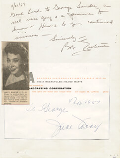 JUNE FORAY - AUTOGRAPH NOTE SIGNED 11/04/1957