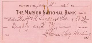 FIRST LADY FLORENCE K. HARDING - AUTOGRAPHED SIGNED CHECK 01/12/1921