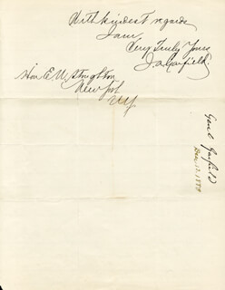 PRESIDENT JAMES A. GARFIELD - AUTOGRAPH LETTER SIGNED 12/13/1880