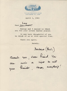 Autographs: FIRST LADY BARBARA BUSH - TYPED LETTER SIGNED 04/01/1983