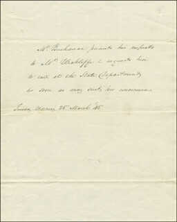 PRESIDENT JAMES BUCHANAN - THIRD PERSON AUTOGRAPH LETTER 03/25/1845