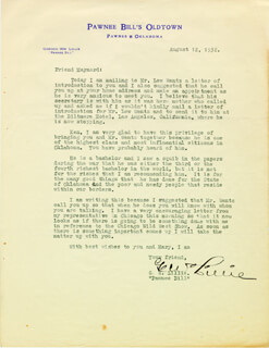 GORDON W. PAWNEE BILL LILLIE - TYPED LETTER SIGNED 08/12/1932