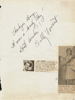 SALLY FORREST - AUTOGRAPH NOTE SIGNED CO-SIGNED BY: RICHARD C. TONGG