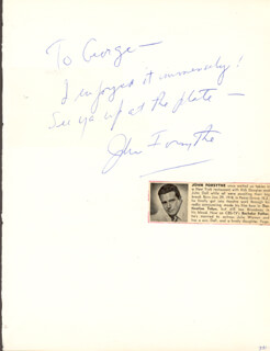 JOHN FORSYTHE - AUTOGRAPH NOTE SIGNED CO-SIGNED BY: TOM DRAKE