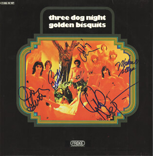 THREE DOG NIGHT - RECORD ALBUM COVER SIGNED CO-SIGNED BY: THREE DOG NIGHT (CORY WELLS), THREE DOG NIGHT (CHUCK NEGRON), THREE DOG NIGHT (DANNY HUTTON), THREE DOG NIGHT (MICHAEL ALLSUP), THREE DOG NIGHT (SKIP KONTE)