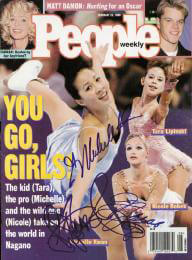 TARA LIPINSKI - MAGAZINE COVER SIGNED CO-SIGNED BY: MICHELLE KWAN, NICOLE BOBEK