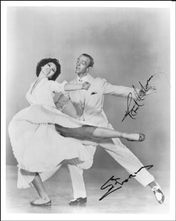 Autographs: THE BAND WAGON MOVIE CAST - PHOTOGRAPH SIGNED CO-SIGNED BY: CYD CHARISSE, FRED ASTAIRE