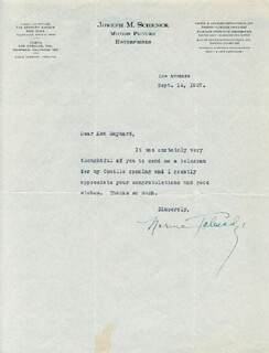 NORMA TALMADGE - TYPED LETTER SIGNED 09/16/1927