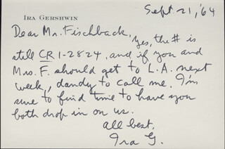 IRA GERSHWIN - AUTOGRAPH LETTER SIGNED 09/21/1964