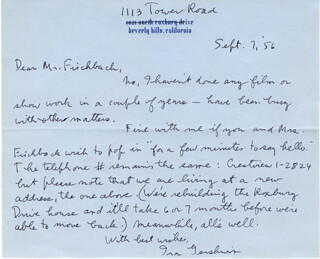 IRA GERSHWIN - AUTOGRAPH LETTER SIGNED 09/07/1956