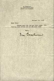 IRA GERSHWIN - TYPED LETTER SIGNED 01/14/1958