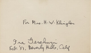 IRA GERSHWIN - INSCRIBED SIGNATURE 2/1951