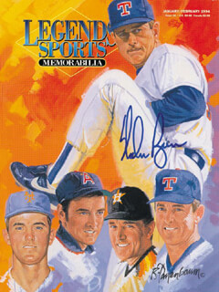 NOLAN RYAN - MAGAZINE COVER SIGNED  - HFSID 252602