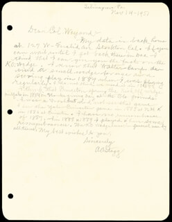 AMOS ALONZO STAGG - AUTOGRAPH LETTER SIGNED 11/14/1951  - HFSID 252603