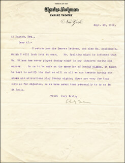 CHARLES FROHMAN - TYPED LETTER SIGNED 09/29/1905