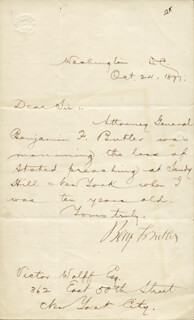 MAJOR GENERAL BENJAMIN F. BUTLER - MANUSCRIPT LETTER SIGNED 10/24/1877
