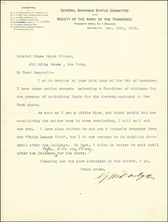 Autographs: MAJOR GENERAL GRENVILLE M. DODGE - TYPED LETTER SIGNED