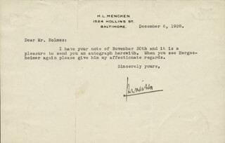 H. L. (HENRY LOUIS) MENCKEN - TYPED LETTER SIGNED 12/06/1928