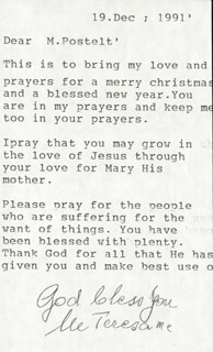 Autographs: MOTHER TERESA - TYPED LETTER SIGNED 12/19/1991